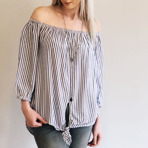 BeachLunchLounge Pinstripe Off the Shoulder